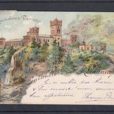 OLTENIA   GORJ  SALUTARI DIN ROMANIA  MANASTIREA  TISMANA  LITOGRAFIE CIRC. 1900, Circulata, Printata, Targu Jiu