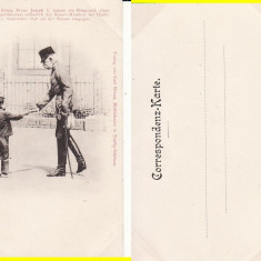 Ilustrata-tema militara -Imparatul Franz Josef la Buzias, Banat-clasica, rara, Necirculata, Printata