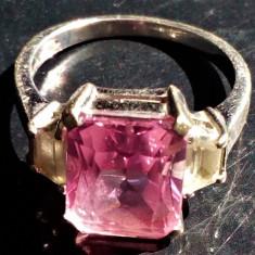 Inel aur alb marcat 14 k 5,2 grame cu piatra  roz superba, 12k, 14k