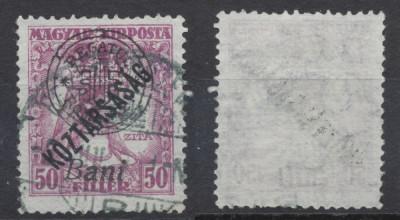 1919 Romania emisiunea Oradea Zita Koztarsasag 50 filler timbru stampilat foto