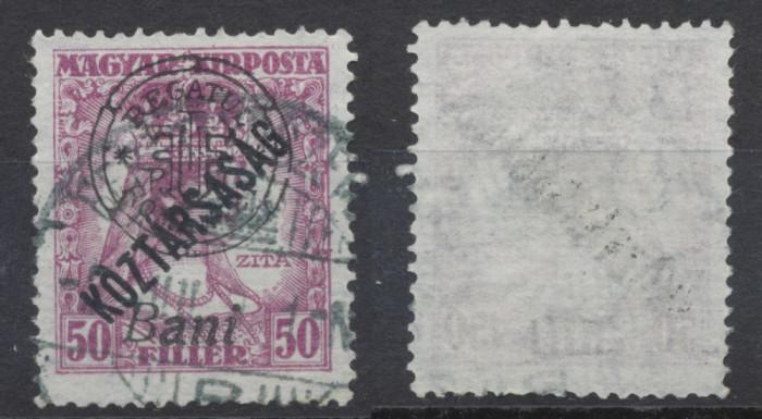 1919 Romania emisiunea Oradea Zita Koztarsasag 50 filler timbru stampilat