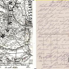 Ilustrata harta de razboi, zona Focsani,Buzau, Ramnicu Sarat-militara WWI, WK1