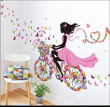Sticker decorativ Biciclete inflorata - fluturi colorati