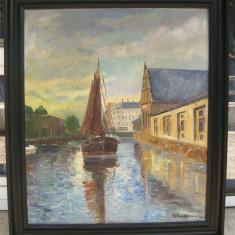Tablou marina anii 30 pe panza de iuta Navigatie pe canal olandez 96x111cm