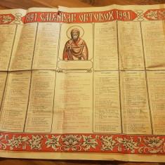 Calendar ortodox de perete din anul 1991