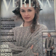 Revista tricotaje Verena august 1994 in lb. germana cu insert in lb. romana