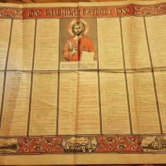 Calendar ortodox de perete din anul 1989-popaganda comunista