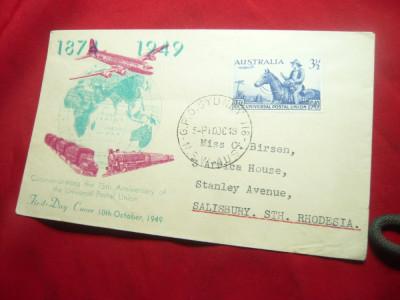 Plic FDC -Aniversare 75 Ani UPU 1949 Australia foto