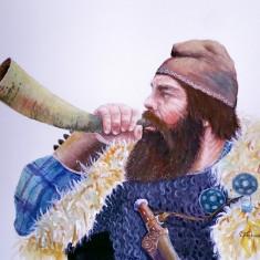 Acuarela dac sunand din corn, Istorice, Realism