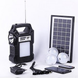 Kit panou solar 3 becuri LED radio digital afisaj incarcare telefon telecomanda