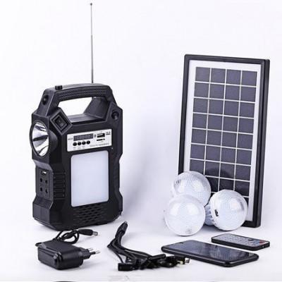 Kit panou solar 3 becuri LED radio digital afisaj incarcare telefon telecomanda foto