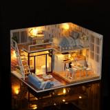 Casuta de asamblat pentru copii, do it yourself, decorativa cu mobilier DIY, 3D, Fata