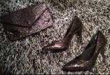 Pantofi și plic H&M, negri cu glitter multicolor, mărimea 40, Negru, H&M