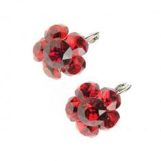 Cercei floare, cristale Swarovsky rosii