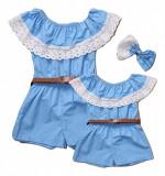Set salopete mama-fiica, albastru, rochie-rochite, L, M, S, Fete