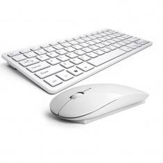 Kit tastatura + mouse wireless pentru Apple, IOS, Android, Windows, alb, Fara fir