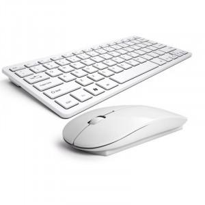 Kit tastatura + mouse wireless pentru Apple, IOS, Android, Windows, alb