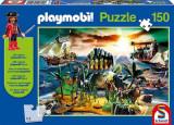 Joc Puzzle Playmobil Pirate Island Jigsaw With Figure 150 Piese, Schmidt