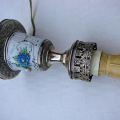 Veioza din portelan si argint masiv de 800, Veioze