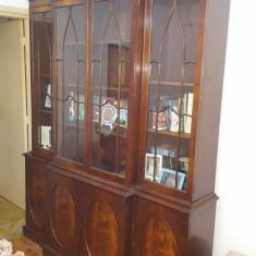 Biblioteca Vitrina Antica Vintage George III 4 Usi Oval Astral Glaze Mahon 1760