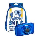 Aparat foto digital Nikon Coolpix W100, 2.7 inch, 13.2 MP, zoom 3x, albastru, cu rucsac