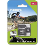 Card memorie Integral micro SDHC/SDXC pentru Card Action Camera (testat cu GoPro), 64GB
