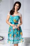 Rochie Darina clos verde cu detalii florale
