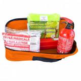 RoGroup Kit siguranta auto – trusa medicala, 2 x triunghi, stingator, vesta + geanta depozitare