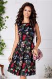 Rochie Erika clos neagra cu flori colorate