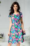 Rochie Elia clos bleumarin cu flori colorate