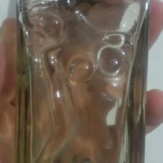 Sticla de parfum art deco// femeie sculptata, in relief