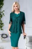 Rochie Marilena de ocazie verde cu bolero din dantela