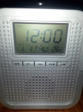 KONIG Radio portabil FM-AM, Termometru, Ceas, Alarma (display iluminat albastru)
