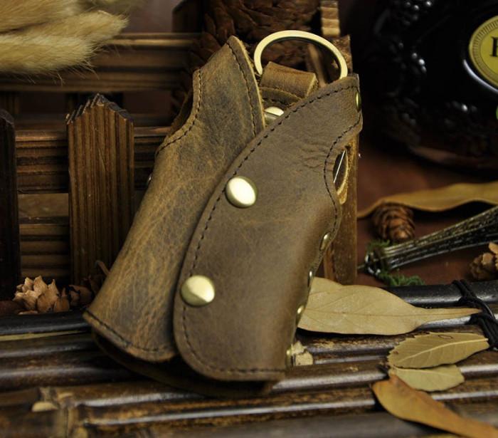 Husa portofel depozitare chei, piele naturala, maro, GD974