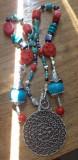 Colier inspiratie tibetana - turcoaz, coral, lapis, cinabru, hamsa