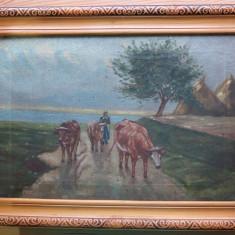 Tablou pictat în ulei pe pânză semnat Sulyok, Peisaje, Realism