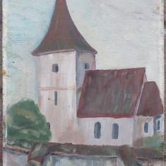 Biserica - semnat monogramic SzK '83, Peisaje, Ulei, Altul