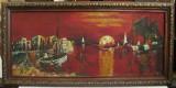 Tablou Peisaj marina Noaptea in port pictura ulei pe sticla 24x48cm