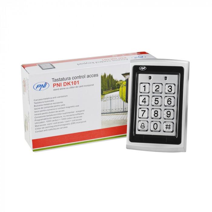 Resigilat : Tastatura control acces PNI DK101 stand alone antivandal cu cititor de