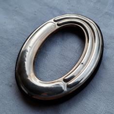 RAMA FOTO argint CADOU delicat pentru BOTEZ NOU NASCUT finuta OVALA