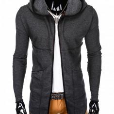 Cardigan pentru barbati, gri-inchis, lung, in colturi, gluga fixa, slim fit, pe corp - B822, L, M, XL, XXL