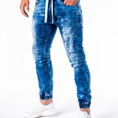 Blugi pentru barbati, albastru inchis cu siret, elastici, slim fit - P174, L, M
