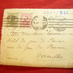 Plic francat cu 10 bani Carol I gravate si 15 bani Tipografiate ,circulat 1911
