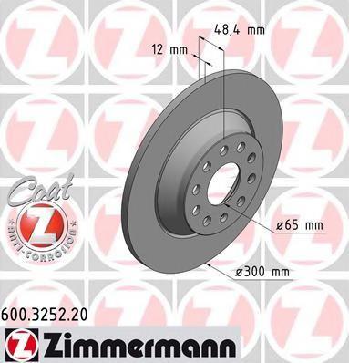 Disc frana VW GOLF VII 1.4 TSI - ZIMMERMANN 600.3252.20 foto