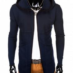 Cardigan pentru barbati, bleumarin, lung, in colturi, gluga fixa, slim fit, pe corp - B822, L, M