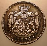 R.074 ROMANIA 1 LEU 1876 5,2g FALS REPLICA ARGINTATA