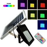 Reflector solar, 56 LED-uri RGB SMD, 6W, timer, telecomanda control, IP65