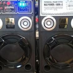 Boxe karaoke active cu mixer si mp3 player inclus 180 watt x 2 putere