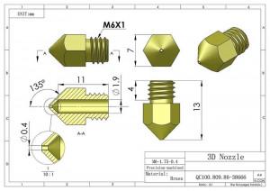 Duza ( nozzle ) exteruder imprimanta 3d, 0.2 si 0.4