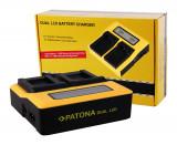 PATONA   Incarcator DUAL LCD pt Canon BP-808 BP-827 BP-828